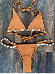 Stylish Halter Solid Color With Shell Women's Bikini Set