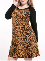 Plus Size Leopard Long Sleeve Tee Dress