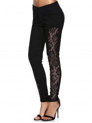 Stylish See-Through Beaded Lace Denim Pants For Women -