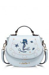 Mermaid Embroidered Crossbody Bag