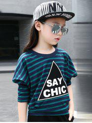 Batwing Sleeve Striped Letter Print T-Shirt -