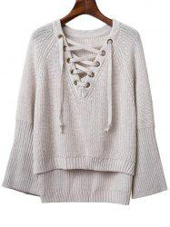 Fashion V Neck Long Sleeve Lace Up Sweater For Women -