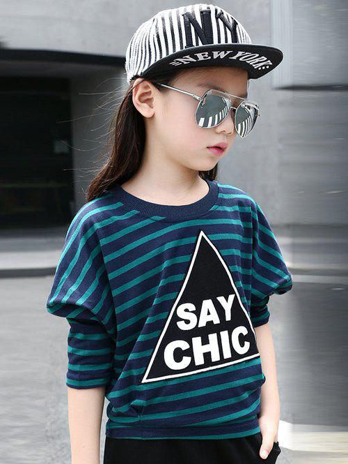 Shop Batwing Sleeve Striped Letter Print T-Shirt