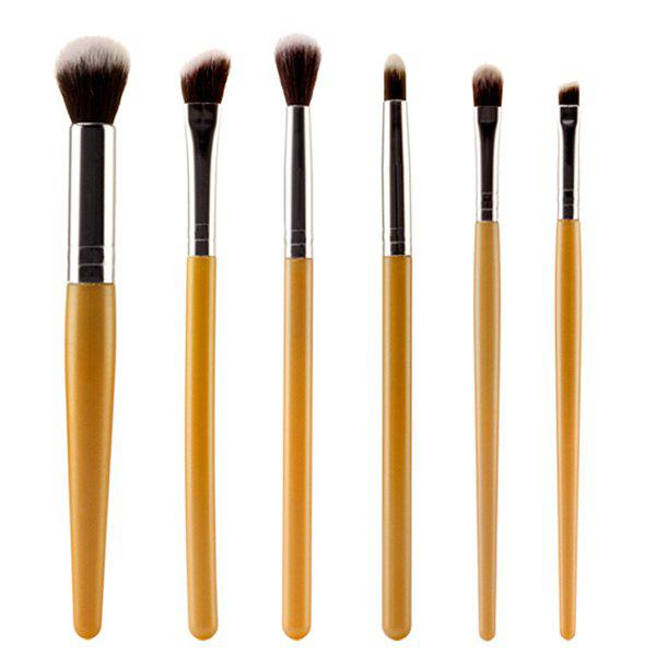 Stylish 6 Pcs Soft Nylon Face Eye Lip Makeup Brushes SetBEAUTY<br><br>Color: GOLDEN; Category: Makeup Brushes Set; Brush Hair Material: Nylon; Features: Travel; Season: Fall,Spring,Summer,Winter; Weight: 0.080kg; Package Contents: 6 x Brushes?Pcs?;