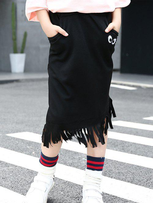 Chic Black Eyes Print Fringed High Low Skirt