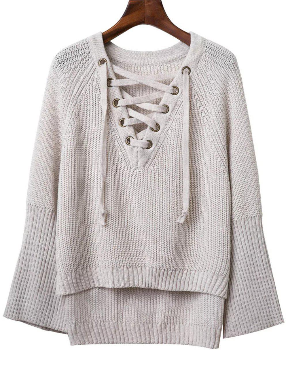Store Fashion V Neck Long Sleeve Lace Up Sweater For Women