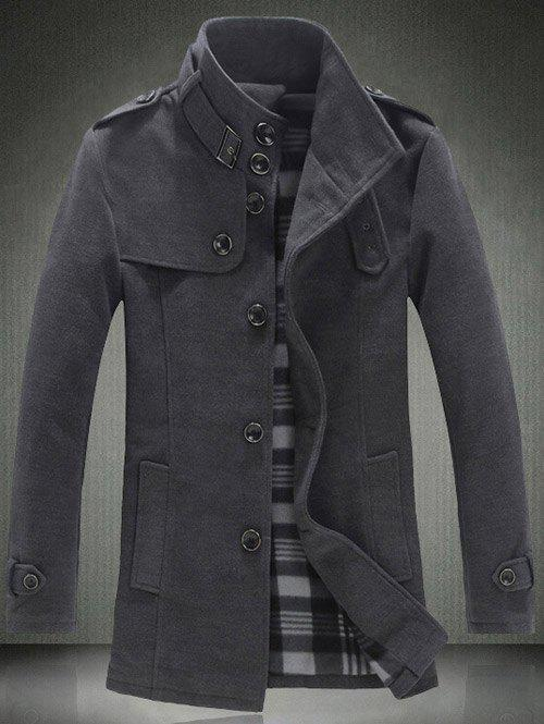 Fancy Elegant Stand Collar Slim Single Breasted Wool Overcoat For Men