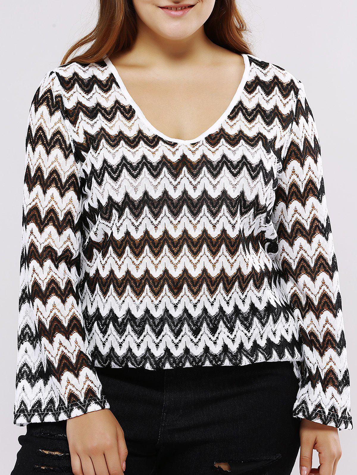 Chic Oversized Casual Low Cut Chevron Pattern Blouse