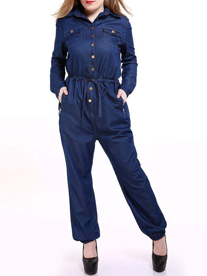 Shop Plus Size Casual Mechanic Single Breasted Denim Jumpsuit