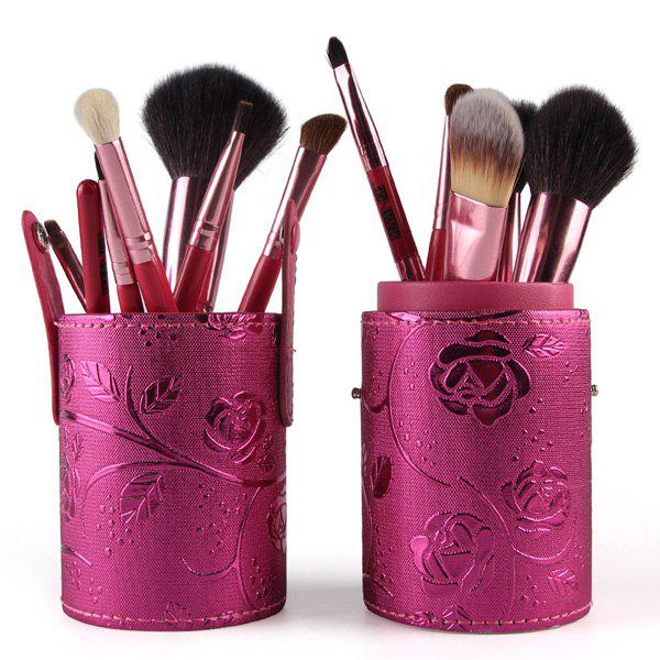 Stylish 12 Pcs Goat Hair Pony Hair Face Eye Lip Makeup Brushes Set with Brush HolderBEAUTY<br><br>Color: RED; Category: Makeup Brushes Set; Brush Hair Material: Goat Hair,Horse,Synthetic Hair; Features: Professional; Season: Fall,Spring,Summer,Winter; Weight: 0.300kg; Package Contents: 12 x Brushes?Pcs?,1 x Brush Holder;