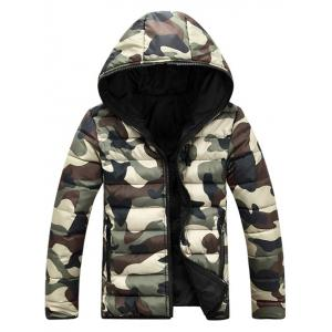Camo Zip Up Double Sided Wear Hooded Padded Coat For Men - Green - L