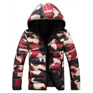 Camo Zip Up Double Sided Wear Hooded Padded Coat For Men - Red - 3xl