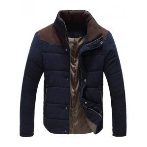 Color Block Zipper Snap Button Stand Collar Padded Coat For Men - Purplish Blue - L