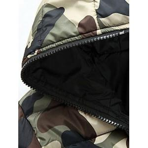 Camo Zip Up Double Sided Wear Hooded Padded Coat For Men - GREEN 3XL