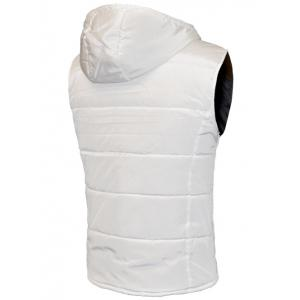 Snap Button Design Zip Up Hooded Padded Waistcoat For Men -