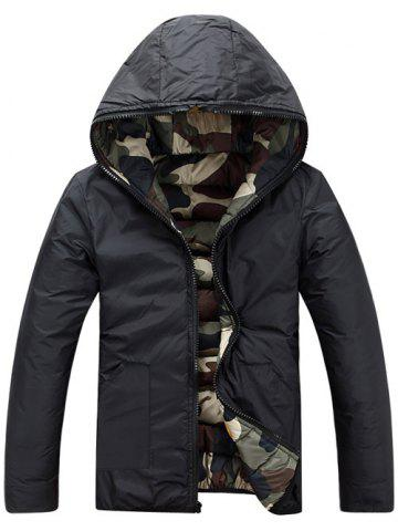 Outfit Camo Zip Up Double Sided Wear Hooded Padded Coat For Men - XL GREEN Mobile