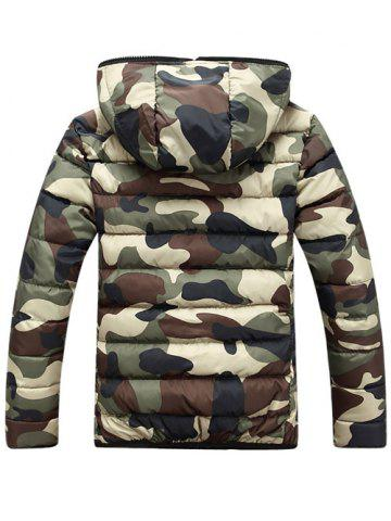 Cheap Camo Zip Up Double Sided Wear Hooded Padded Coat For Men - XL GREEN Mobile