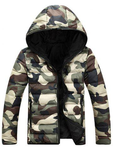 Fashion Camo Zip Up Double Sided Wear Hooded Padded Coat For Men - XL GREEN Mobile