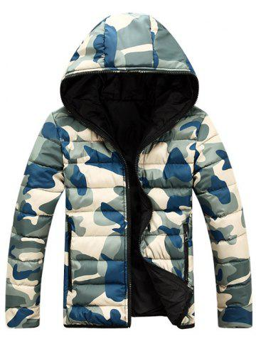 Fashion Camo Zip Up Double Sided Wear Hooded Padded Coat For Men