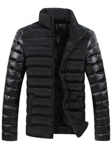Online Leather Spliced Zippered Long Sleeve Stand Collar Down Coat For Men