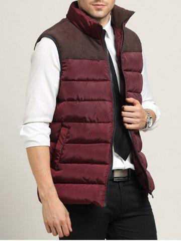 Zip Up Pocket Spliced Stand Collar Padded Waistcoat For Men - Wine Red - M