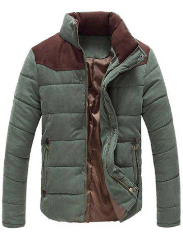 Shop Color Block Zipper Snap Button Stand Collar Padded Coat For Men ARMY GREEN 2XL