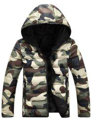 Camo Zip Up Double Sided Wear Hooded Padded Coat For Men - GREEN