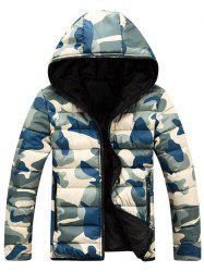 Camo Zip Up Double Sided Wear Hooded Padded Coat For Men - BLUE