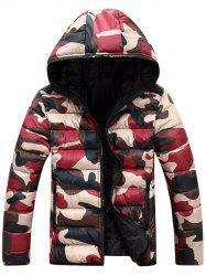 Camo Zip Up Double Sided Wear Hooded Padded Coat For Men - RED