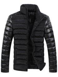 Leather Spliced Zippered Long Sleeve Stand Collar Down Coat For Men -