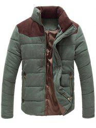 Color Block Zipper Snap Button Stand Collar Padded Coat For Men - ARMY GREEN