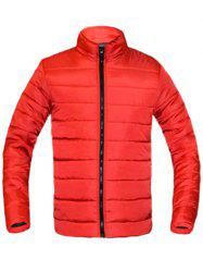 Solid Color Zip Up Stand Collar Long Sleeve Padded Coat For Men -
