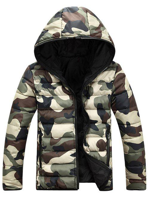Chic Camo Zip Up Double Sided Wear Hooded Padded Coat For Men