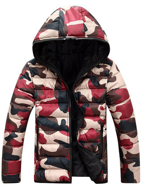 Online Camo Zip Up Double Sided Wear Hooded Padded Coat For Men
