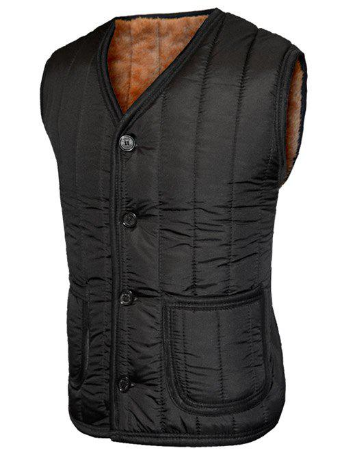 Outfit Plush Inside Pocket Button Up Collarless Vest For Men