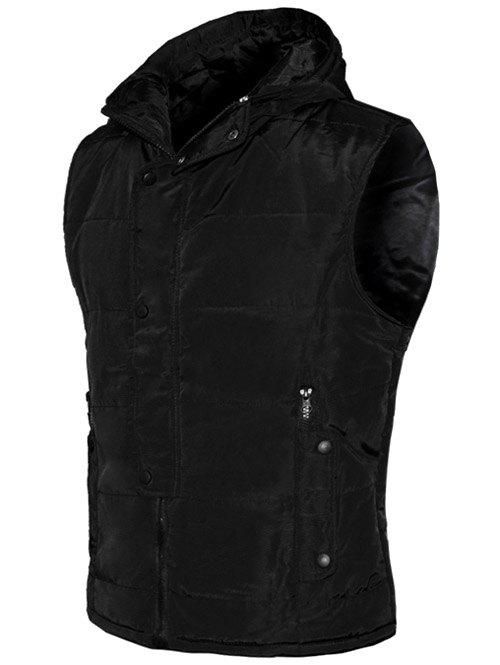 Best Snap Button Design Zip Up Hooded Padded Waistcoat For Men