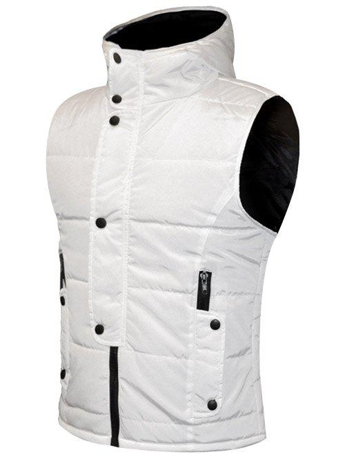 Shops Snap Button Design Zip Up Hooded Padded Waistcoat For Men