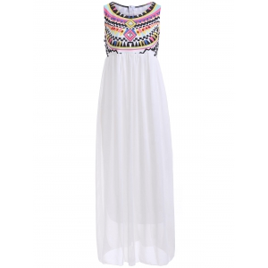 Bohemian Rhinestone Chiffon Casual Summer Maxi Dress - White - M