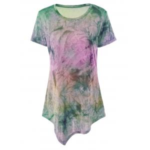 Asymmetrical Long Tie Dye T-Shirt - Pink And Purple - M