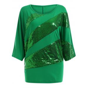 Sequin Embellished Loose Top - Green - M
