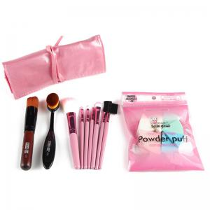 Stylish 7 Pcs Nylon Makeup Brushes Set with Brush Bag + 2 Pcs Foundation Brush + Powder Puffs