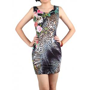 Mini Floral Leopard Bodycon Dress