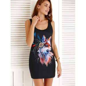 Fox Pattern Mini Tank Bodycon Dress