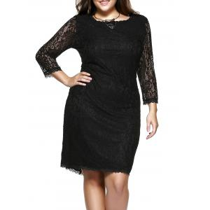 Plus Size 3/4 Sleeve Solid Color Knee-Length Lace Dress
