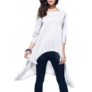 Chic 3/4 Sleeve Asymmetrical Patch Design Women's T-Shirt
