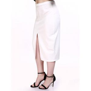 Oversized Trendy Front Slit White Midi Skirt