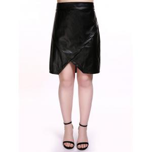 Plus Size Overlap PU Leather Skirt