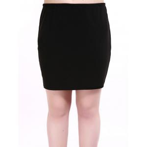 Oversized Brief Elastic Waist Black Mini Skirt - Black - Xl