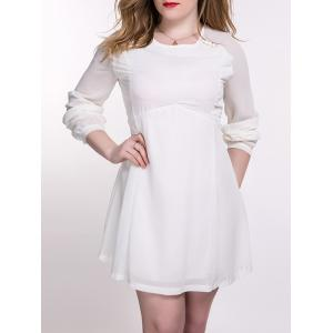 Plus Size Chiffon Backless Long Sleeve Dress - Off-white - 2xl