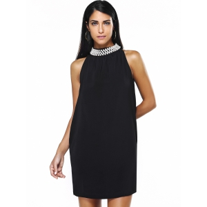 Graceful Women's Round Neck Beaded Black Dress - Black - S